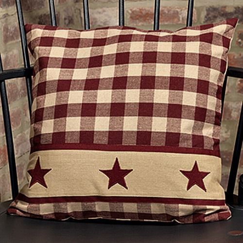 "New Primitive Homespun Wine BURGUNDY COUNTRY STAR Decorative Pillow 16"" #VHC"