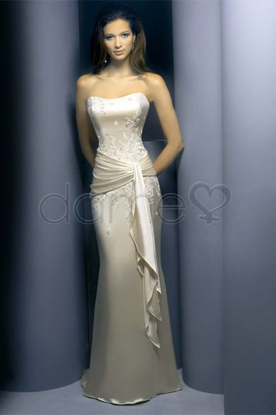 Etui-Linie Perlen Rüschen bodenlanges trägerloses klassisches & zeitloses elegantes & luxuriöses Abendkleid