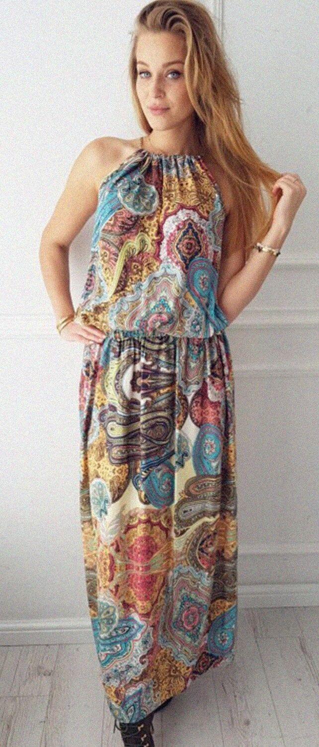 ad16eab49a Bohemian Floral Printed Maxi Dress. Women fashion. Bohemian summer ...