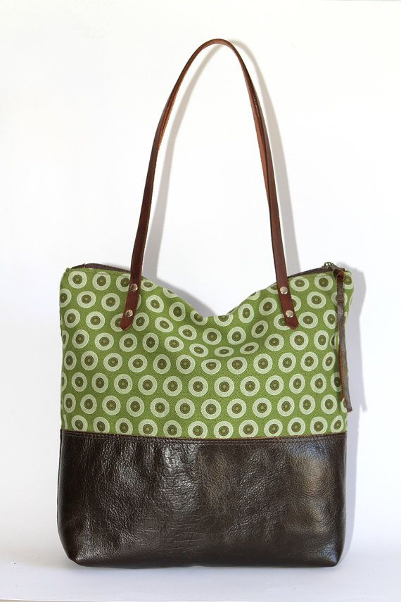 Leather Tote Bag with Shweshwe by ChameleonBags $134