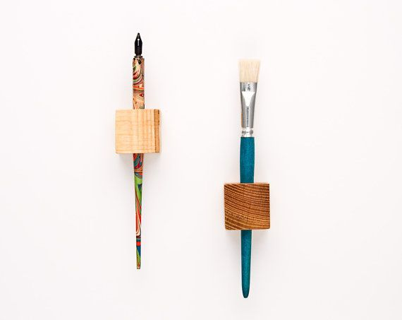 Magnetic Pen Holder Wooden Cubes MAGIC PEN CUBES By Lessandmore, $35.00