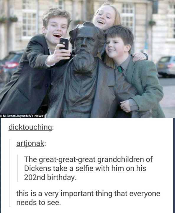 Great-great-great grandchildren of Charles Dickens take a selfie with him