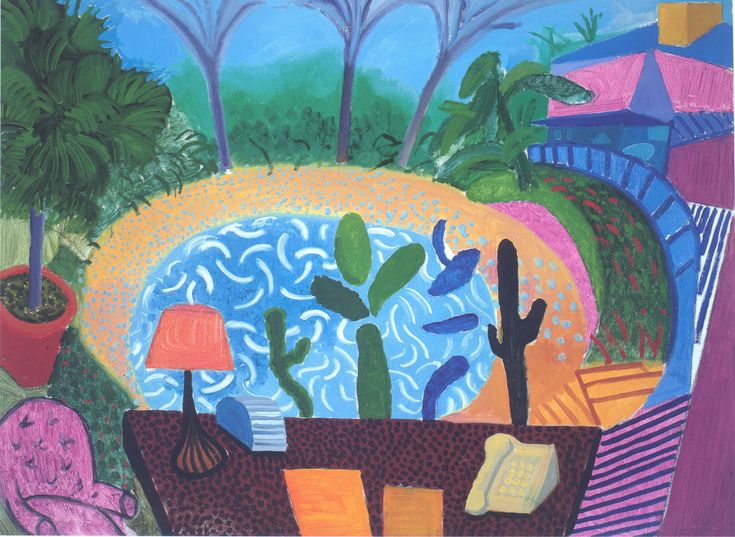 David Hockney | My Garden in L.A. | 2000