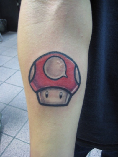 21 best images about tattoo on pinterest first tattoo for Mario mushroom tattoo