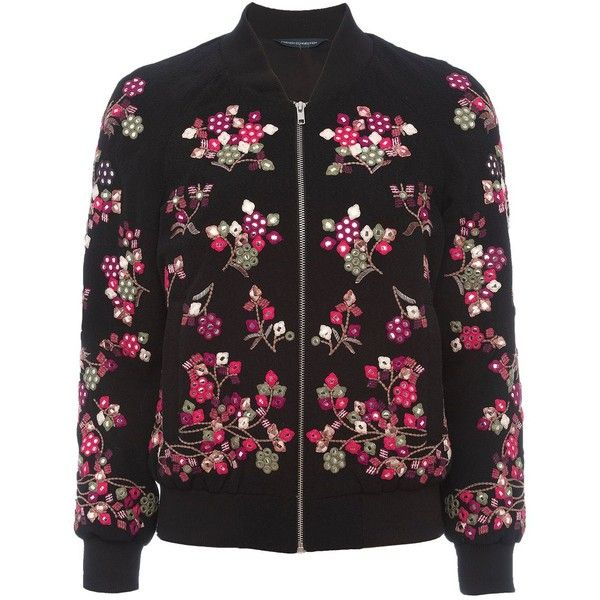 French Connection Gilliam Floral Embroidered Bomber (4,440 MXN) ❤ liked on Polyvore featuring outerwear, jackets, women coats & jackets, flight bomber jacket, embellished bomber jacket, embellished jacket, french connection jackets and bomber jacket