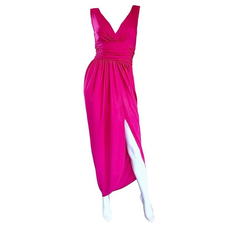 1970s Lilli Diamond Hot Pink Raspberry Sexy Vintage 70s Disco Jersey Dress  | From a collection of rare vintage maxi-dresses at https://www.1stdibs.com/fashion/clothing/day-dresses/maxi-dresses/