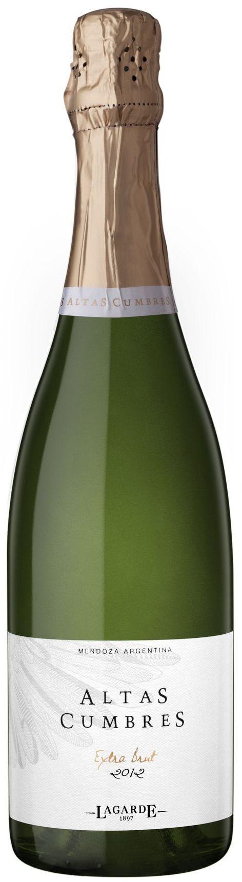 """""""Altas Cumbres"""" Pinot noir / Chardonnay / Semillón 2013 espumante extra brut - Bodega Lagarde, Luján de Cuyo, Mendoza---------------------------------- Terroir: Luján de Cuyo y Vista Flores (Tunuyán)------------------------ Método Charmat"""