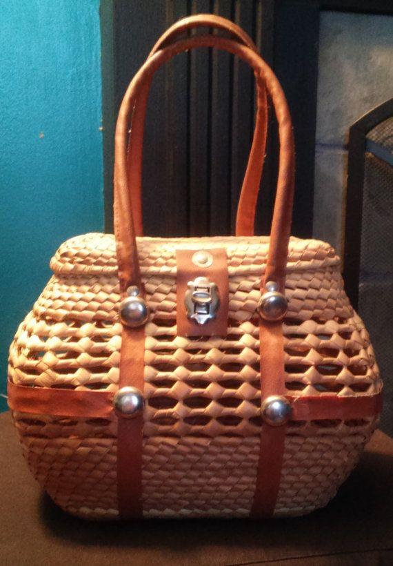 Vintage Basket Purse 1950s Woven Rattan Straw Handbag