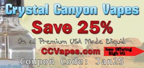 January 12, 2015High VG E-liquid Crystal Canyon Vapes Offers High VG E-liquid at 25% Off Many of you have tried and fell in love with the e-liquid ma