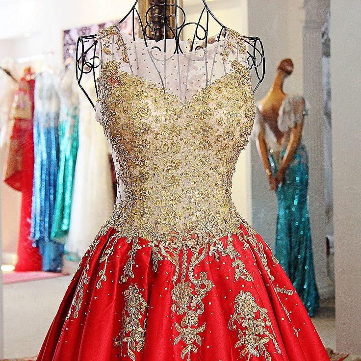 Зима 2016 sheer декольте тонкий красный вечернее платье с бисером золото кружева аппликации невесты красное платье с поездом суда xj01774 купить на AliExpress