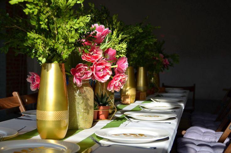 Gold and green table decor / Весенняя сервировка стола (золотой + зеленый + розовый)