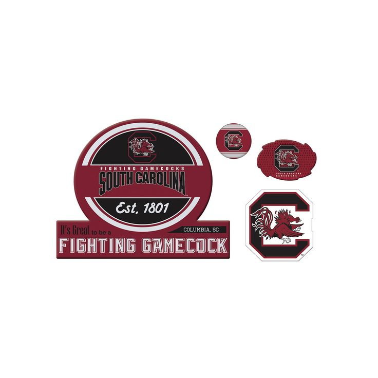 South Carolina Gamecocks Game Day 4-Piece Magnet Set, Multicolor