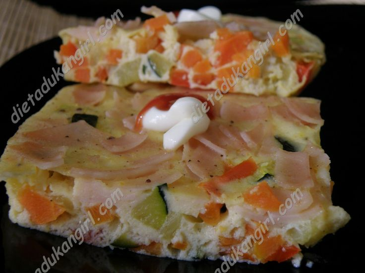 Pastel de verduras al microondas.