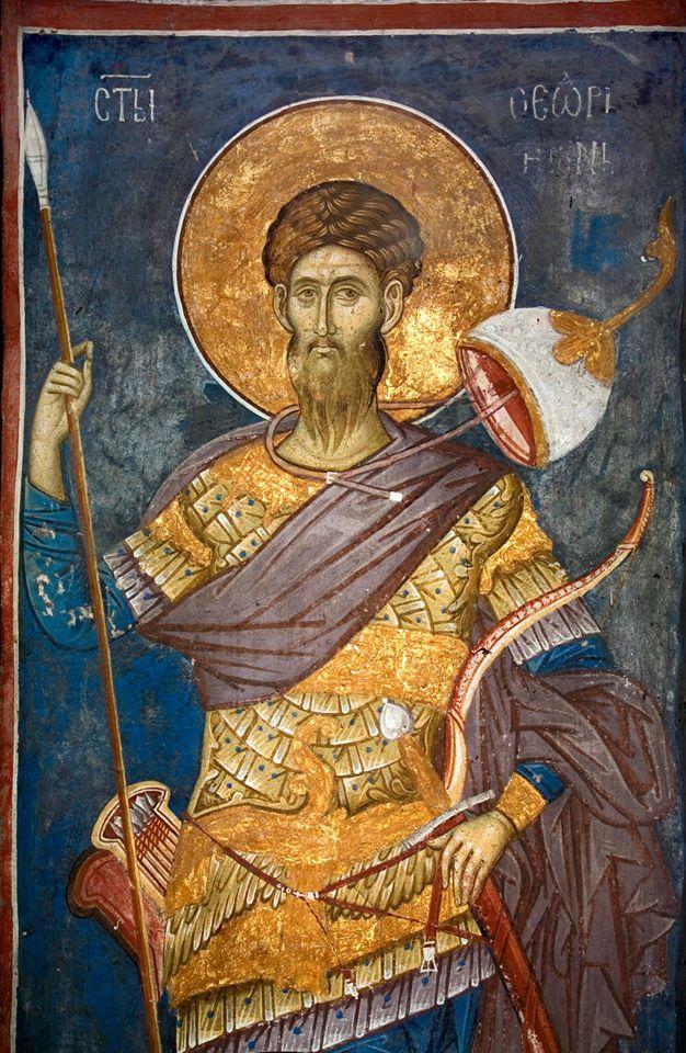 Манастир Високи Дечани - Visoki Dečani (SERBIA)  Monastery  St. Theodore Tiro (Tyro), fesco from the north choir of the Dečani church nave,