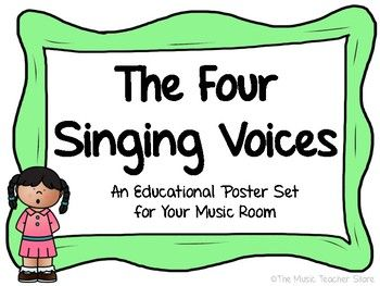 A GREAT POSTER SET FOR YOUR CHORUS OR GENERAL MUSIC ROOM!INCLUDED IN THIS POSTER SET ARE THE FOUR MAIN SINGING VOICE TYPES (SOPRANO, ALTO, TENOR AND BASS) AND A DEFINITION FOR EACH VOICE TYPE.THE VOCAL RANGE FOR EACH VOICE TYPE IS ALSO DISPLAYED ON EACH POSTER.FOLLOW THE MUSIC TEACHER STORE FOR NEW PRODUCTS AND UPDATES!AS ALWAYS, HAPPY MUSIC TEACHING!