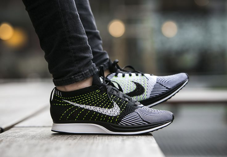 a01b5e0f8a169 Nike Flyknit Racer Black White Volt On Feet extreme-hosting.co.uk