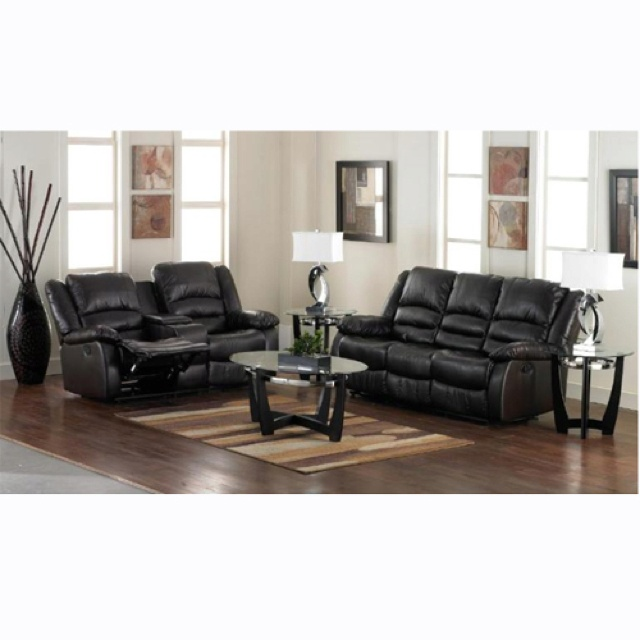 Reclining Bonded Leather Living Room Collection Includes: Double Reclining  Sofa And Loveseat With Center Console Coffee Table 2 End Tables 2 Lamps Rug