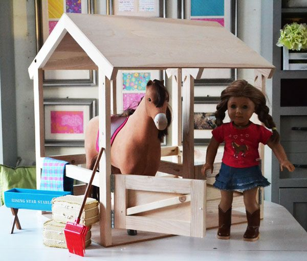 Ana white build a horse stables for american girl or 18 for Plans for horse stables