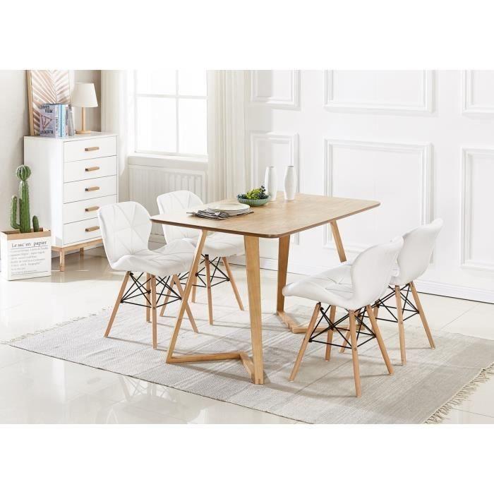 Cecilia Eiffel Lot De 4 Chaises Design En Simili Cuir Blanches Inspiration Scandinave Salle A Manger Salon Bureau Ou Cuisine Chaise Design Simili Cuir Chaise Cuisine