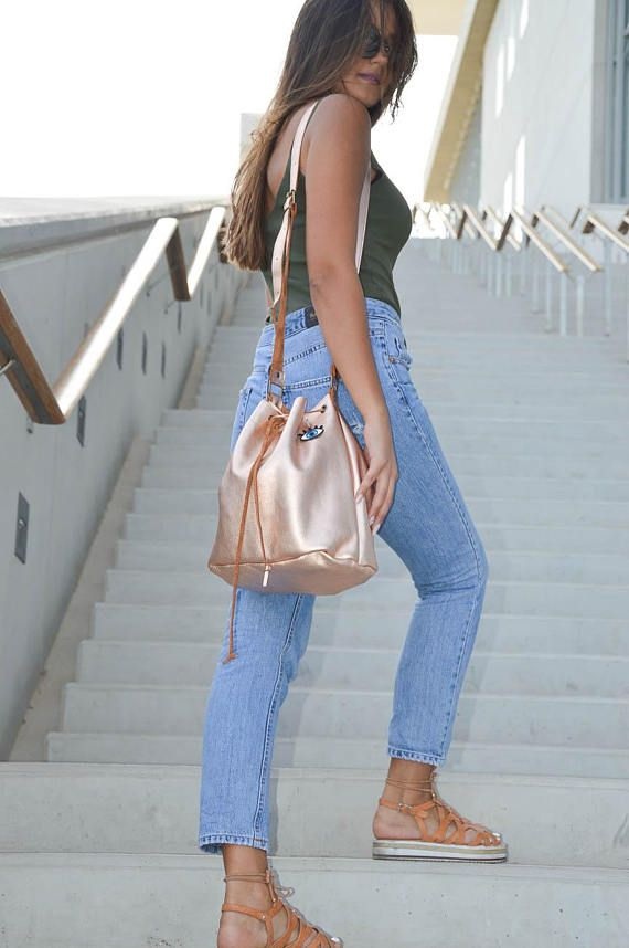 Bucket Bag, Leather Hobo, Tote Bag, Leather Handbag, Gift for Her, Made from 100% Cowleather In Greece by Christina