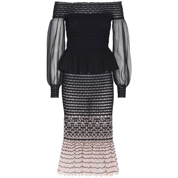 Alexander Mcqueen Off-The-Shoulder Midi Dress (13.755 HRK) ❤ liked on Polyvore featuring dresses, pink, pink mesh dress, off shoulder dress, off the shoulder peplum dress, mid calf dresses and off the shoulder dress
