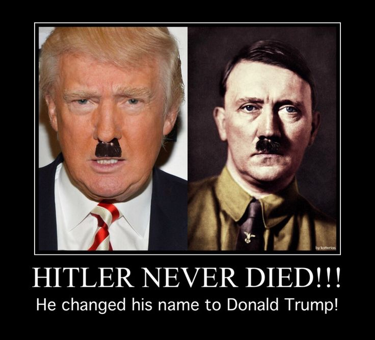 Same eye color.... Same jaw shape.... Same nose and eyebrows..... Just 100 years older....... Hmmmm?  Also, Trump's ex-wife says that he used to keep a copy of Hitler's speeches by his bed. That information can go a long way to understand why Donald Trump has refused to address or even acknowledge the problem of racist sentiments within his followers.