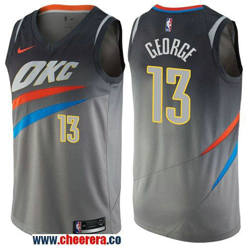 db4f62db488 Men s Nike Oklahoma City Thunder  13 Paul George Gray NBA Swingman City  Edition Jersey