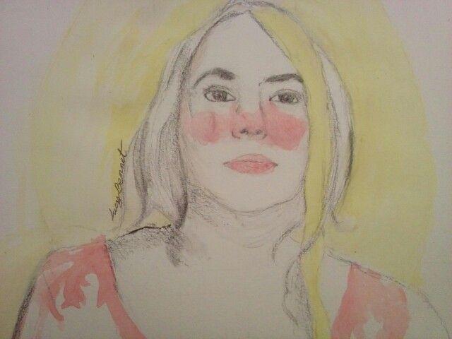 #retrato #dibujo #acuarela #rostro #mujer