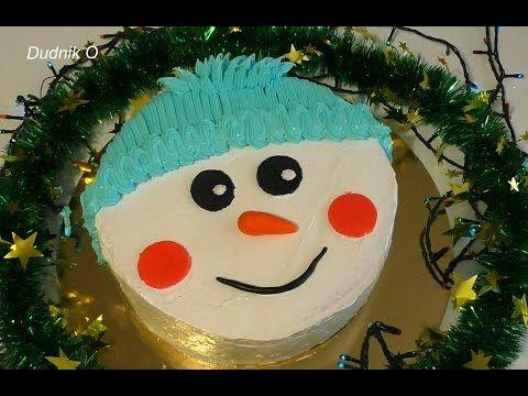 Торт Снеговик Как приготовить Новогодний торт своими руками  Snowman Cak...