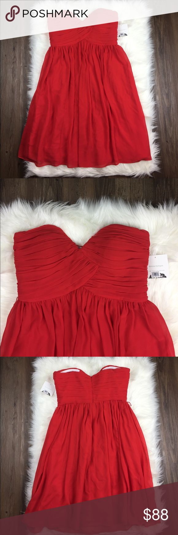 "NWT Donna Morgan Strapless Fire Red Chiffon Dress New with tags and in perfect condition! Donna Morgan red Chiffon dress, knee length, fully lined. Hidden zipper on back, society stretch straps hug chest lining. Size is 10. Waist = 31"" Length is 30"" Donna Morgan Dresses"