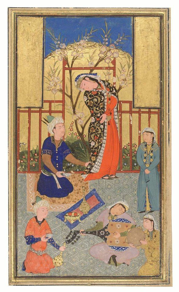 A PRINCE AND ATTENDANTS PERSIAN, 16TH CENTURY BRILLIANT COLOR AND GOLD