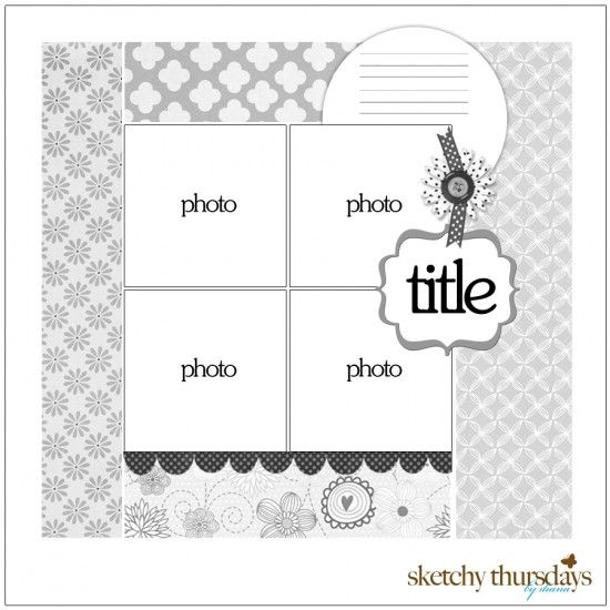 Scrapbook Circle Challenge - by Diana Fisher (Sketchy Thursdays): Scrapbook Ideas, Sketches Archives, Daisies Scrapbook, Sketches Scrapbook, Scrapbook Sketches, Scrapbook Layout, Photos Layout, Thursday Sketches, Sketchy Thursday