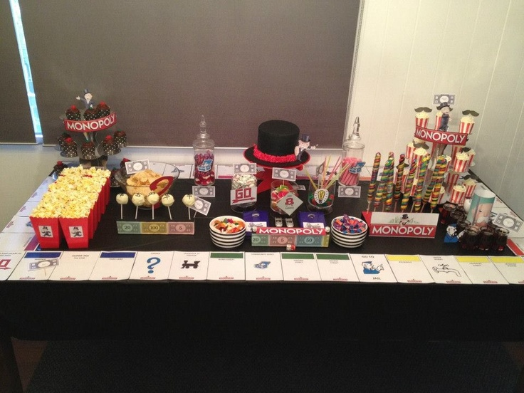"Could line serving tables like this Monopoly"" themed kids party styled by Once Upon A Table events"