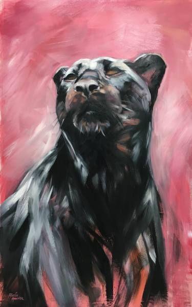 "Saatchi Art Artist Aimée Rolin Hoover; Painting, ""Black Panther Study"" (25 x 40 / Acrylic on mylar)  #art #panther #painting #artist #painter #animal #saatchiart"
