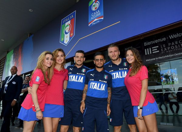 (L-R) Alessandro Florenzi, Lorenzo Insigne and Ciro Immobile of Italy pose for a photo after press conference at Casa Azzurri on June 29, 2016 in Lyon, France.