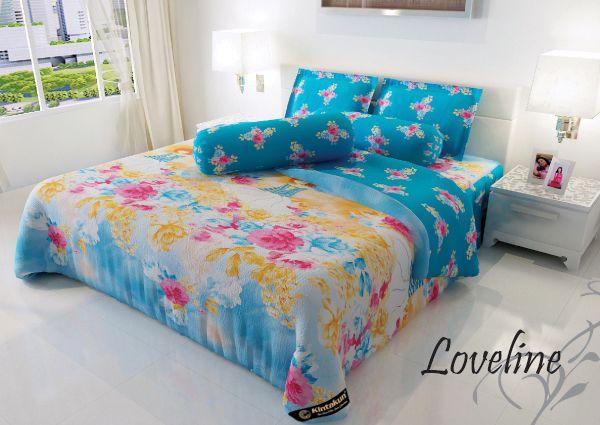 "LOVELINE - ""Motif abstract bunga berpaduan dengan sisi wanita dengan warna colourfull untuk memberikan keanggunan dan keceriaan tempat tidur anda"" (warna mungkin tidak sama dengan yg terlihat pada layar anda)"
