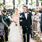 Muckenthaler Mansion Wedding Photography Throwing Petals At Ceremony Pink Bouquet Black Tux BouquetCalifornia WeddingSouthern