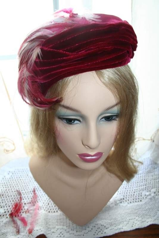 Hat Magenta Velvet and Feather Lady Couture by GretchensPretties, $30.00
