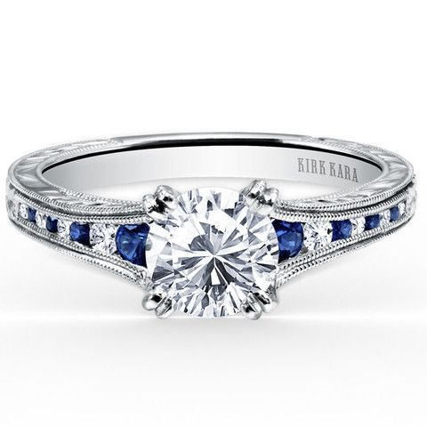 Kirk Kara Stella Blue Sapphire Channel Set Diamond Engagement Ring