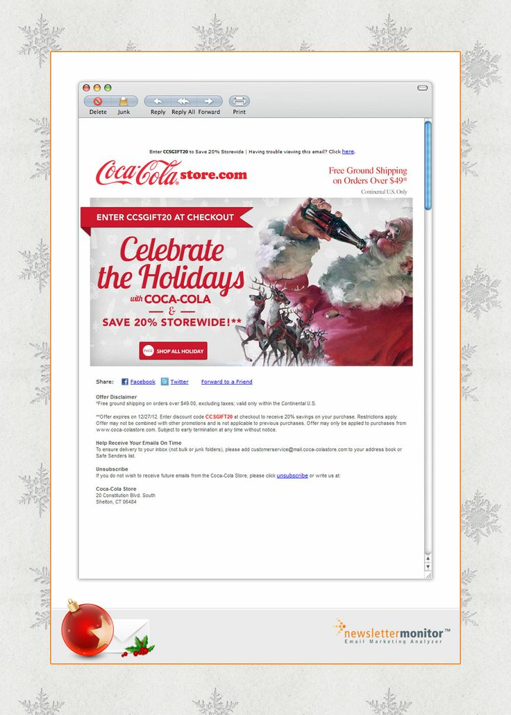 Brand: Coca-Cola | Subject: Celebrate the Holidays with 20% Off Storewide! | Sending Date: December 13, 2012
