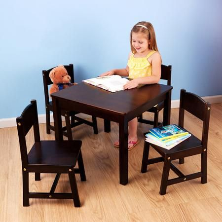 Reminiscent of a time when life was simpler, KidKraft's new Farmhouse Table & 4 Chair Set is sturdily constucted with a classic farmhouse design. Crafted from birch wood, the set includes a square table and four matching chairs.