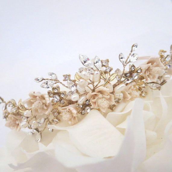 Diadema d'oro copricapo di nozze d'oro fascia di TheExquisiteBride