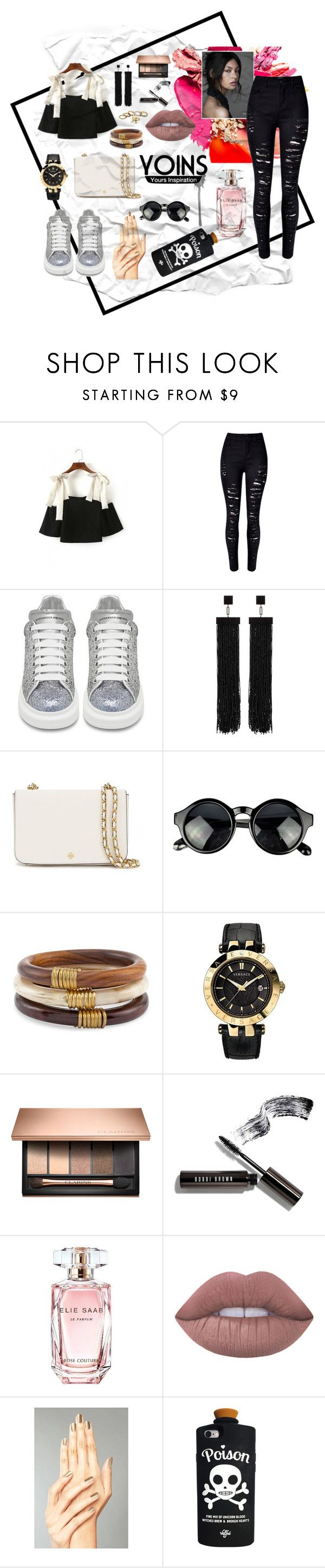 """Cold Shoulder"" by blackheaven on Polyvore featuring WithChic, Alexander McQueen, Tom Ford, Tory Burch, Chico's, Versace, Bobbi Brown Cosmetics, Elie Saab, Lime Crime and Valfré"