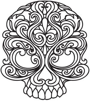 embroidery pattern line drawing skull