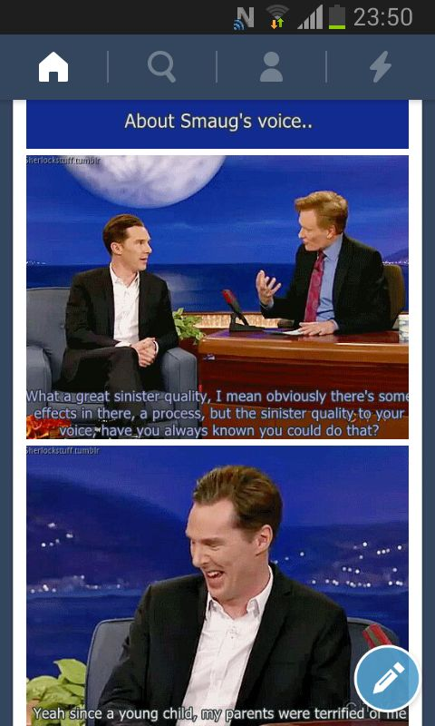 :3 teehee. I have the cutest mental image of baby Benedict toddling around, going up to his mum, and his first words coming out in Smaug's voice. xD