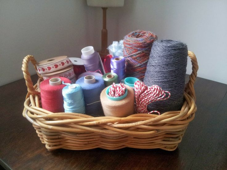 Basket storage for yarn, cotton reels and ribbon, Craft with Ruth Cartwright