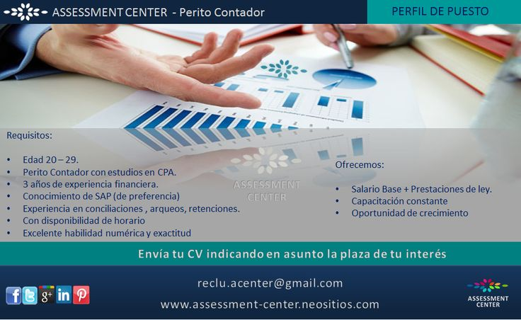 PERITO CONTADOR Envía tu CV a reclu.acenter@gmail.com  #PlazasVacantes #AssessmentC #Guatemala #Personal