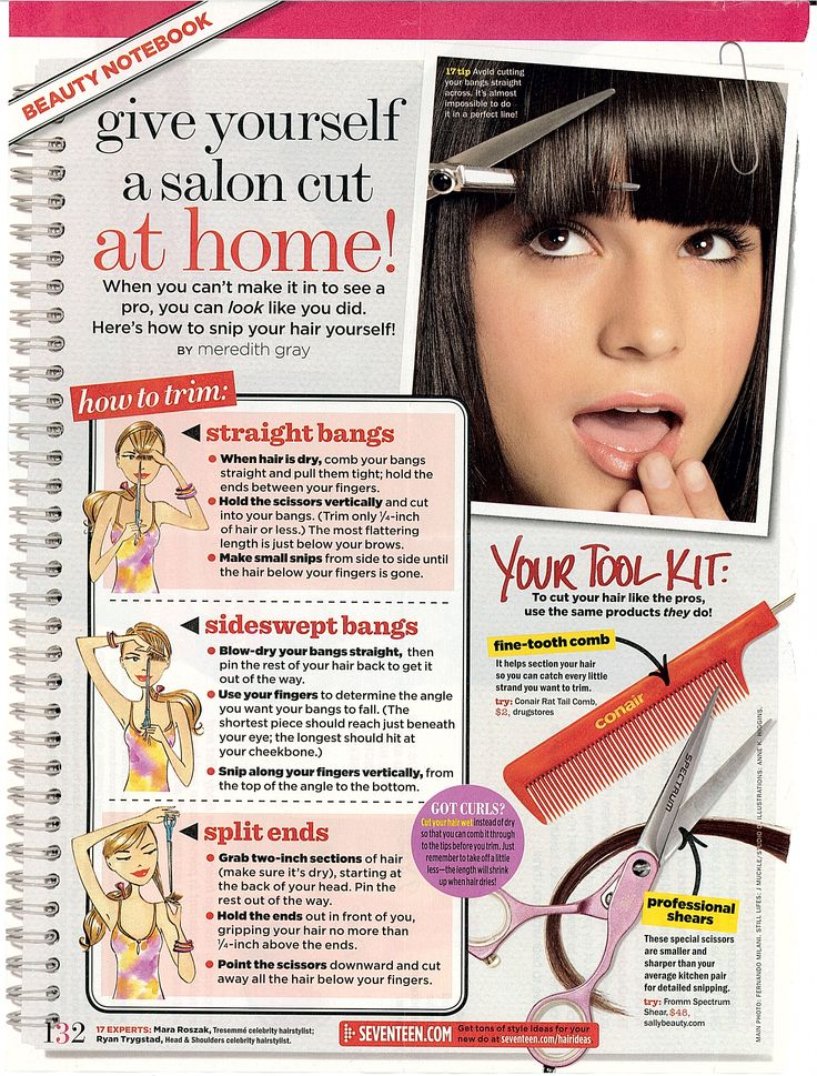 cut your own bangs at home - straight bangs, sideswept bangs, and split ends!