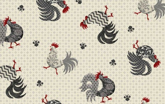 Who doesn't love roosters for the kitchen? More great flirty aprons being made with this; skirt is in coordinating red.  452325314CRE1XXXX - Poulets de Provence Rooster - Creme - Poulets de Provence Collection - Steve Haskamp - SPX Fabrics