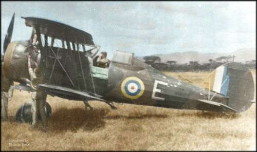 Gloster Gladiator of 3 Squadron SAAF believed to be photographed at Jigjigga in Ethiopia during the East African campaign 1940-1941. Photograph credit Michael Schoeman